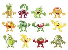 Reeks kleurrijke mascottes van het fruitkarakter Stock Foto