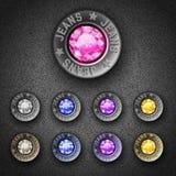 Reeks kleurrijke metaalknopen Royalty-vrije Stock Foto's