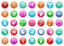 Reeks kleurrijke onderwijs en wetenschaps glanzende pictogrammen Royalty-vrije Stock Afbeelding