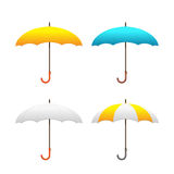 Reeks kleurrijke paraplu's - vectorillustratie Front View Stock Foto's