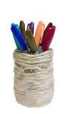 Reeks kleurrijke pennen in houder Royalty-vrije Stock Foto