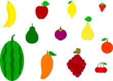 Reeks kleurrijke pictogrammen van het beeldverhaalfruit Royalty-vrije Stock Fotografie