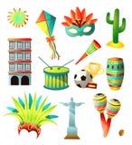 Reeks kleurrijke pictogrammen van het land van Brazilië, traditionele voorwerpen vector illustratie