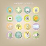 Reeks 16 kleurrijke pictogrammen voor bedrijfsplaats Vector illustratie Royalty-vrije Illustratie