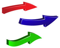 Reeks kleurrijke pijlen op witte achtergrond Groene, rode, blauwe pijlillustratie Stock Fotografie