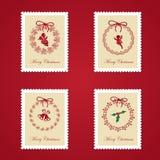 Reeks kleurrijke postzegels van Kerstmis Stock Afbeelding