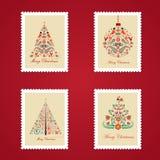 Reeks kleurrijke postzegels van Kerstmis Stock Afbeeldingen
