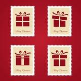 Reeks kleurrijke postzegels van Kerstmis Stock Foto