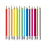 Reeks kleurrijke potloden Royalty-vrije Stock Afbeelding