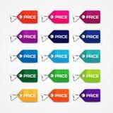 Reeks kleurrijke prijskaartjes Stock Afbeelding