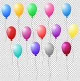 Reeks kleurrijke realistische heliumballons op transparante backgro royalty-vrije illustratie