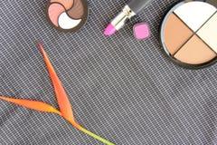 Reeks kleurrijke schoonheidsmiddelen Stock Afbeelding