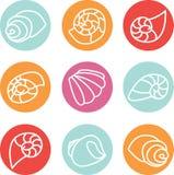 Reeks kleurrijke shell illustratiepictogrammen stock illustratie