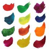 Reeks kleurrijke slagen van de waterverfborstel Stock Foto's
