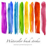 Reeks kleurrijke slagen van de waterverfborstel Geïsoleerde Royalty-vrije Stock Foto