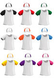 Reeks kleurrijke T-shirts en kappen voor af:drukken Royalty-vrije Stock Fotografie