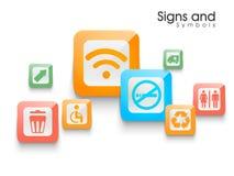 Reeks kleurrijke tekens en symbolen Royalty-vrije Stock Afbeelding