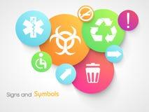 Reeks kleurrijke tekens en symbolen Royalty-vrije Stock Afbeeldingen