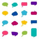 Reeks kleurrijke toespraakbellen, vectorillustratie Stock Afbeeldingen