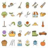 Reeks kleurrijke tuinpictogrammen Royalty-vrije Stock Foto