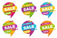 Reeks kleurrijke van de verkoopontwerpen van de toespraakbel de bannersprijskaartjes Stock Foto