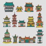 Reeks kleurrijke vector Aziatische tempels en manors royalty-vrije stock fotografie