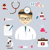 Reeks kleurrijke vector medische pictogrammen Stock Foto