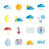 Reeks kleurrijke vector vlakke weerpictogrammen Stock Afbeeldingen