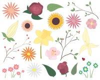 Reeks kleurrijke vectorbloemen Bloemenelementen met inbegrip van bloemen, bladeren, bloesem en een onzelieveheersbeestje Royalty-vrije Stock Afbeeldingen