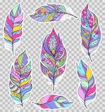 Reeks kleurrijke veren Royalty-vrije Stock Foto's