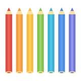 Reeks kleurrijke vlakke ontwerppotloden op witte achtergrond Royalty-vrije Stock Foto's
