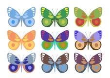 Reeks kleurrijke vlinders Stock Afbeeldingen