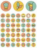 Reeks kleurrijke voedsel en drankenpictogrammen. Stock Fotografie