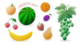 Reeks kleurrijke vruchten: aardbei, kers, peer, appel, mandarin, banaan, watermeloen, pruim, druif Vector illustratie Stock Afbeeldingen