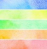 Reeks kleurrijke waterverfbanners Stock Fotografie