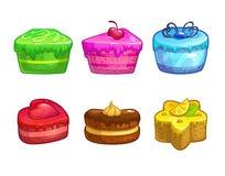 Reeks kleurrijke zoete cakes Stock Afbeelding