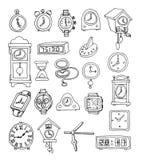 Reeks klokken en horloges, Hand getrokken vectorillustratie Royalty-vrije Stock Foto