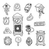 Reeks klokken en horloges, Hand getrokken vectorillustratie Royalty-vrije Stock Foto's