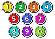 Reeks knopen met aantallen van 1 tot 0 Vector illustratie stock illustratie