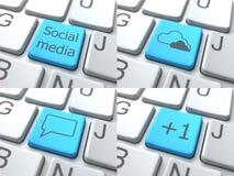 Reeks Knopen op Toetsenbord Sociaal media concept Stock Foto's