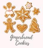 Reeks koekjes van de Peperkoek Stock Fotografie