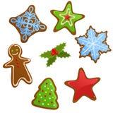 Reeks koekjes van Kerstmis Royalty-vrije Stock Afbeeldingen