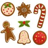 Reeks koekjes van Kerstmis Stock Illustratie