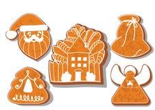 Reeks koekjes van Kerstmis Reeks verschillende peperkoekkoekjes voor Kerstmis Kerstmiskarakters van de Kerstmispeperkoek vector illustratie