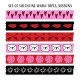 Reeks koele Valentine-washibanden, linten met krabbelpatronen Vector voorwerpen Grappig ontwerp Royalty-vrije Stock Foto's