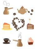 Reeks koffie en theepictogrammen Royalty-vrije Stock Afbeelding