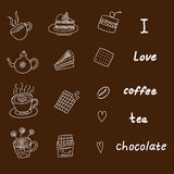 Reeks koffie en theepictogrammen Stock Fotografie