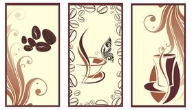 Reeks koffiebanners met vlinder royalty-vrije illustratie