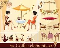 Reeks koffieelementen stock illustratie
