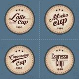 Reeks Koffieembleem en Elementen in uitstekende stijl Stock Afbeelding